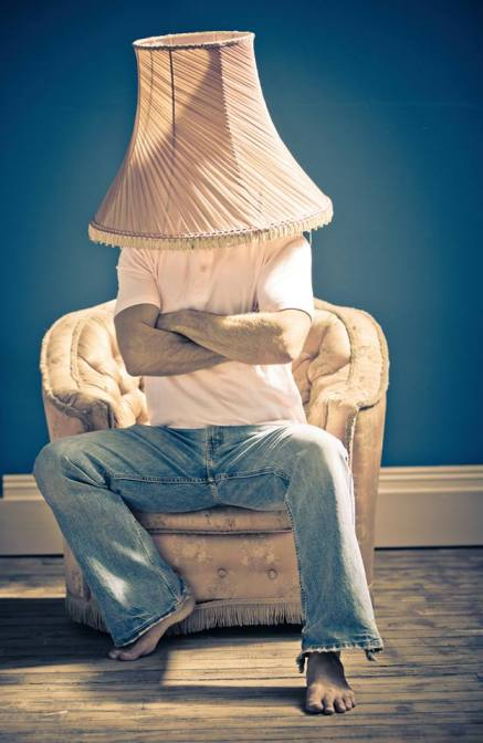 """I found the perfect image for ""the vulnerability hangover"" - you know that feeling when you share too much and the next hour/day/week you feel like you're wearing the emotional lampshade? I hate that feeling."" -BB"