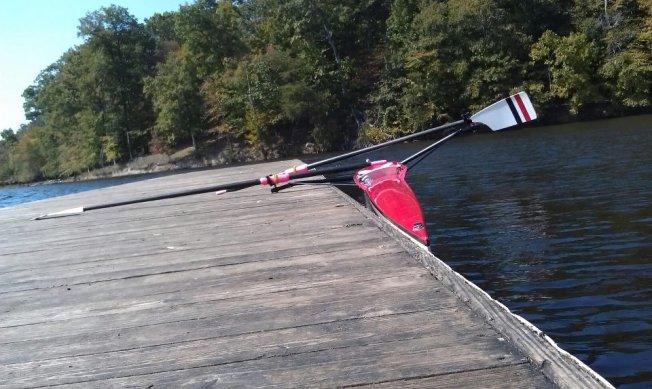 sculling: two oars, one in each hand.