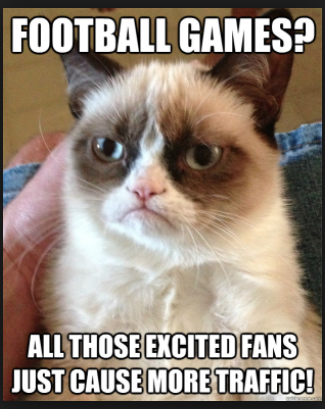 "i love The Google! I typed ""traffic and football"" and look what came up! Grumpy Cat for the win!"
